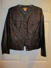 Ruby Road jacket blazer size 10 LS EUC leather look brown jewels