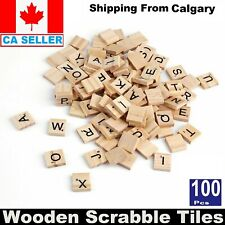 100PCS Wooden Alphabet Scrabble Tiles Letters & Numbers For Crafts Wood Toys