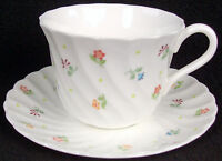Wedgwood Bone China Cascade Flat Cup & Saucer Set 2 5/8""