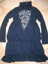 (265) Nolita Pocket Girls Kleid Logo Schriftzug Herzen Blumen Gummi Druck gr.128