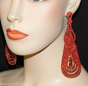 "AWESOME RHINESTONE RED 5"" DANGLE / CHANDELIER PARTY EARRINGS"
