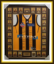 Hawthorn SIGNED 2014 Premiers AFL Official Jumper with L/E Card Set Framed 150