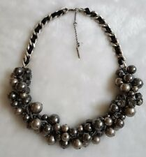 NWOT KENNETH COLE NY Downtown Pearl Rhinestone Chain Cluster Collar Necklace