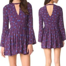 FREE PEOPLE Boho Tegan Printed Dress SZ 12 Mini Long Bell Sleeves Festival