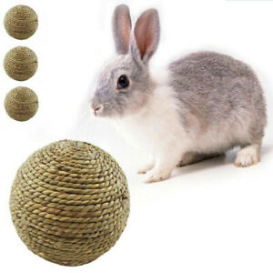 3pcs Small Pet Rabbit Cat Chewing Toy Natural Grass Ball Teeth Cleaning Toys 7CM