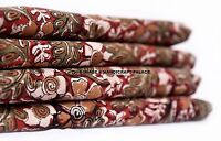 2.5 Yard Indian Floral Print Cotton Dressing Material Sewing Craft Maroon Fabric