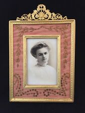 ANTIQUE  DORE BRONZE PICTURE FRAME WITH DELICATE SEQUINS