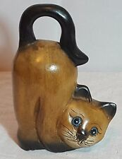 Beautiful Decorative Wooden Carved Cat. Height: 18.5 cm.
