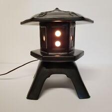 Vintage Pagoda Lamp Night Light Mid Century Asian Black Ceramic 10in