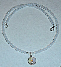 First Communion Pendant with White Opal Czech Beads Necklace Handcrafted