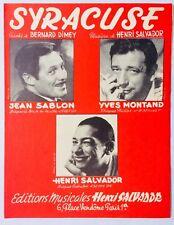 ►PARTITION - SYRACUSE / JEAN SABLON / YVES MONTAND / SALVADOR / 1962