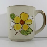 Vintage Norleans Hand Painted Yellow Flower Coffee Mug Made in Korea