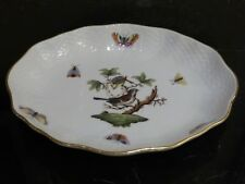 HEREND HUNGARY ROTHSCHILD BIRD HAND PAINTED OVAL DISH #1213