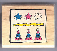 Greenbrier Wood Rubber Stamp - BIRTHDAY HAT & STARS Scrapbook Stamping SALE
