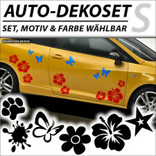 Auto Aufkleber Hibiskus Hawaii Blume Schmetterling Stern Car Tattoo Sticker Set