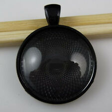 2Set Black Round Frame Trays Holder Base Setting + 25mm Glass Cameo Pendant