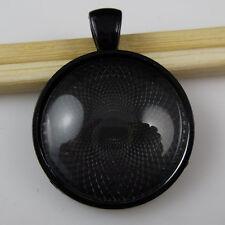 2Set Black Round Frame Trays Holder Base Setting + 25mm Glass Cameo Pendant