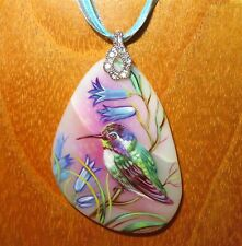 Hummingbird Pendant Bird Gorbachova signed Genuine Russian hand painted stone