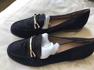 Marks And Spencer M&S Black Faux Suede Loafers Sz Uk 8 Eu 42 New
