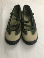 Women's Lands End Leather Slip On Shoes Mary Jane Green Size 7.5