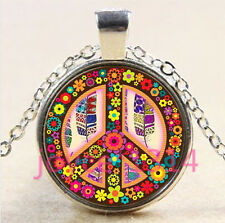 Flower peace symbol Cabochon Tibetan silver Glass Chain Pendant Necklace #4521