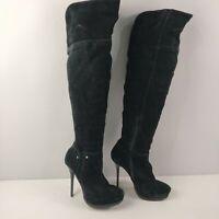 WOMENS RIVER ISLAND BLACK SUEDE HIGH HEELED KNEE HIGH BOOTS SHOES UK 5 EU 38