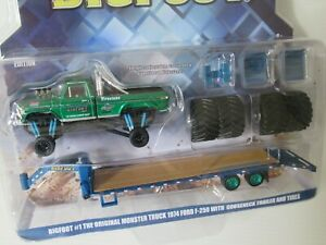 GREENLIGHT, BIGFOOT FORD F-250, TRAILER CRUNCH 1:64 CHASE MONSTER, GREEN MACHINE
