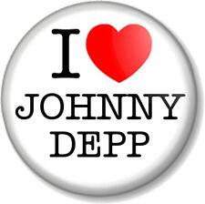"I Love / Heart JOHNNY DEPP 1"" Pin Button Badge Jack Sparrow Edward Scissorhands"