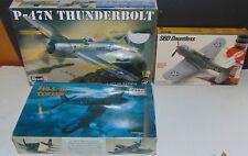 3 Model Kits Aircraft Revell P-47N Thunderbolt Minicraft Corsair SBD Dauntless