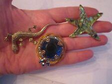 3 Vintage Brooch Pins - Gecko, Starfish & Faux Crystal - Fashionable - Tub Bba-9
