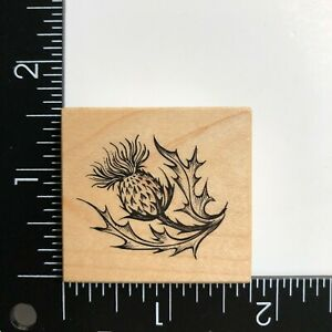PSX Designs Thistle C2154 Wood Mounted Rubber Stamp  Flower Leaves Botanical