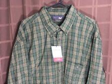 Men's New Arrow Shirt 2XLT Cotton Forest Green Plaid & Checks Long Sleeve