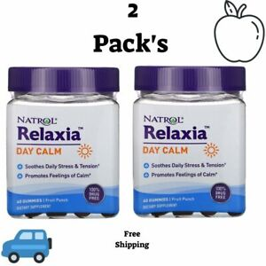 2 Pack's Natrol, Relaxia, Day Calm, Fruit Punch, 60 Gummies