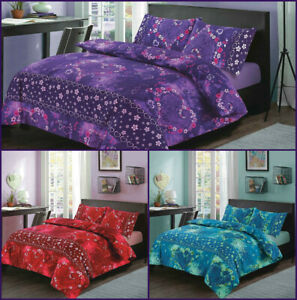 Duvet Cover with Pillow Cases Single Double King Size UK Quilt Cover Bedding Set