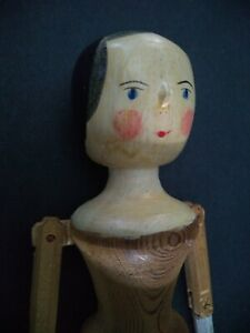 Vintage Wooden Peg Penny Doll Jointed