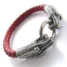 Pulsera De Cuero Dragón Rojo Cabeza Motero Brazalete Red Dragon 19,5 cm