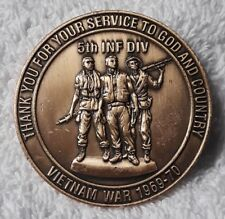 AUTHENTIC ARMY RETIREMENT 5TH ID CSM VIETNAM WAR 1969-70 (REAL) CHALLENGE COIN