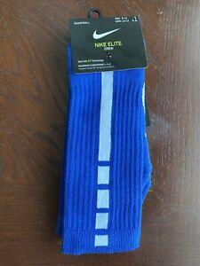 Nike Elite Dri Fit Basketball Crew Socks Size Large (8-13) Royal Blue/White