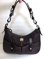 Gorgeous Dooney & Bourke Large  Leather Crescent handbag dark brown Hobo Purse