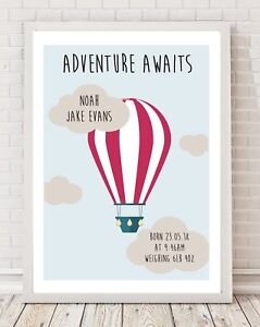 Personalised Balloon Birth Baby Details Christening Gift A4 Print Poster PO91