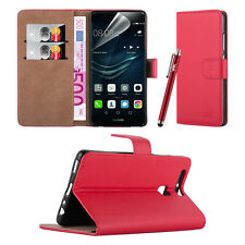 Huawei Y3- Premium Leather Slim Wallet Book Stand Case Cover Screen Protector Red