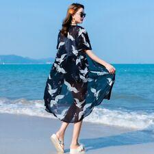 Women Cardigan Japanese Kimono Chiffon Summer Sunscreen Jacket Top Crane Coat