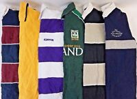 Mens Rugby Polo Shirts Lot of 6 Random Long Sleeve Striped/Solid S M L XL 2XL