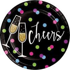 """New Years Eve Cheers 8 Ct 7"""" Dessert Cake Plates """"Cheers"""""""