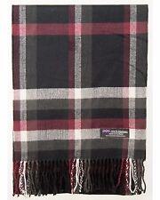 100% Cashmere Scarf Black Red Grey Check Buffalo Plaid SCOTLAND Wool Women R925