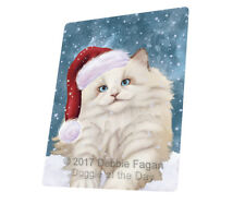 Let it Snow Christmas White Ragdoll Cat Tempered Cutting Board Large Db42
