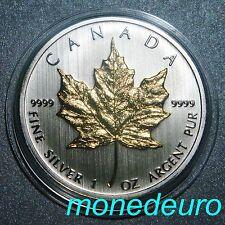 CANADA 2013 1 DOLAR 1 ONZA PLATA PURA .999  MAPLE LEAF DETALLE EN ORO