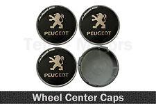 4 x 58mm / 55mm Peugeot Silicone Emblem Logo Wheel Rims Center Caps