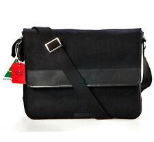 Black Canvas with Genuine Leather Trim Cross Body Messenger Bag for Men & Women