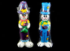 "SET OF 2 x 8"" NEW VINTAGE EASTER RABBIT BUNNY CANDLES UNSCENTED CANDLE STATUE"
